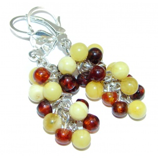 Juicy Grapes Authentic Baltic Amber .925 Sterling Silver handmade Earrings