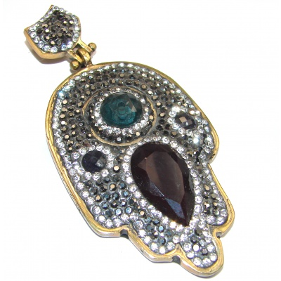 Protective Hamsa Hand onyx & White Topaz Sterling Silver Pendant