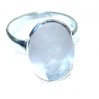 Authentic Rose Quartz .925 Sterling Silver handcrafted ring s. 9