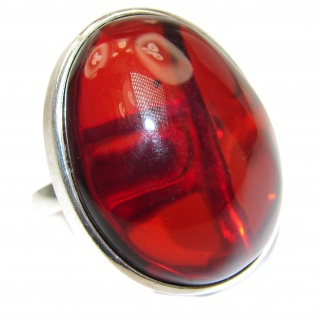Huge Authentic Baltic Amber .925 Sterling Silver handcrafted ring; s 8 adjustable