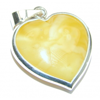 Angel's Heart amazing quality Butterschotch Amber .925 Sterling Silver handmade pendant