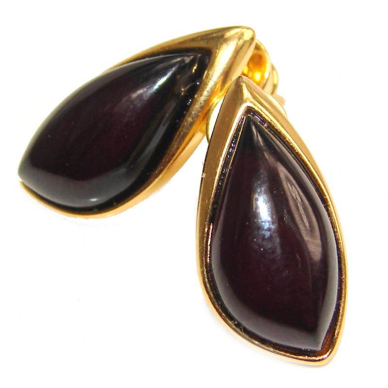Elegant Authentic Amber 18K Gold over .925 Sterling Silver handmade earrings