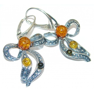 Gorgeous Polish Baltic Amber .925 Sterling Silver entirely handcrafted earrings