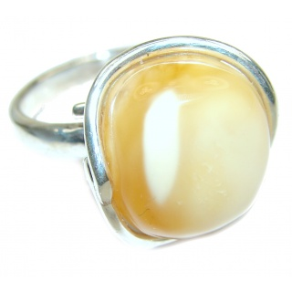 Genuine Butterscotch Baltic Amber .925 Sterling Silver handmade Ring size 8