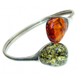 You and Me Genuine Polish Amber .925 Sterling Silver handamde Bracelet / Cuff