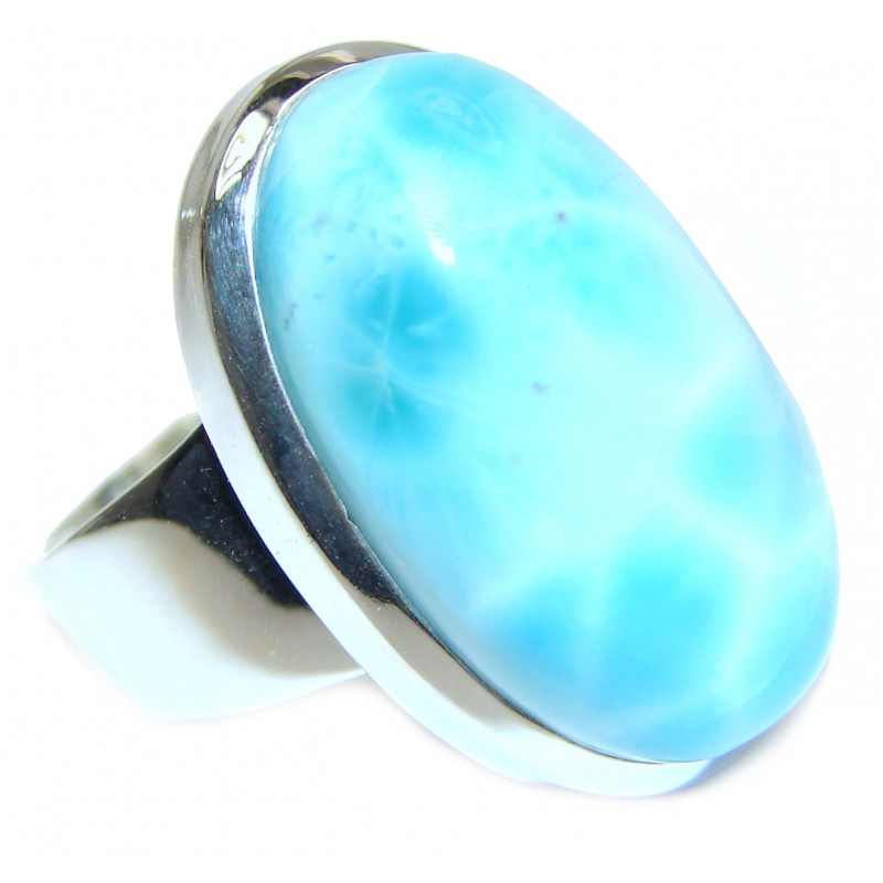 Sublime Design Natural Larimar .925 Sterling Silver handcrafted Ring s. 9