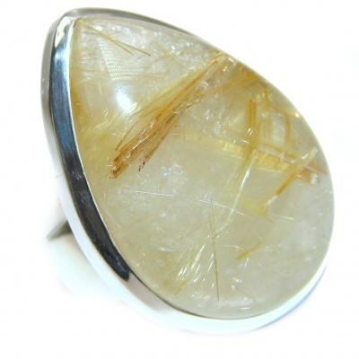 Incredible Golden Rutilated Quartz .925 Sterling Silver handcrafted Ring Size 7