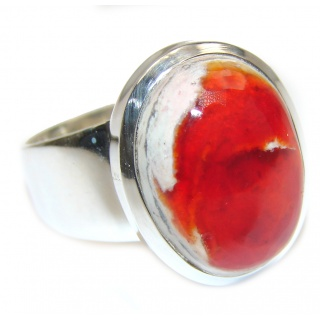 Genuine Mexican Agate .925 Sterling Silver handmade Ring size 9
