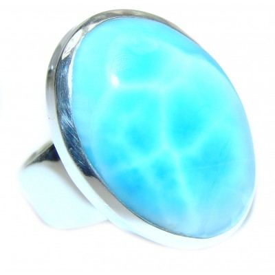 Sublime Design Natural Larimar .925 Sterling Silver handcrafted Ring s. 6