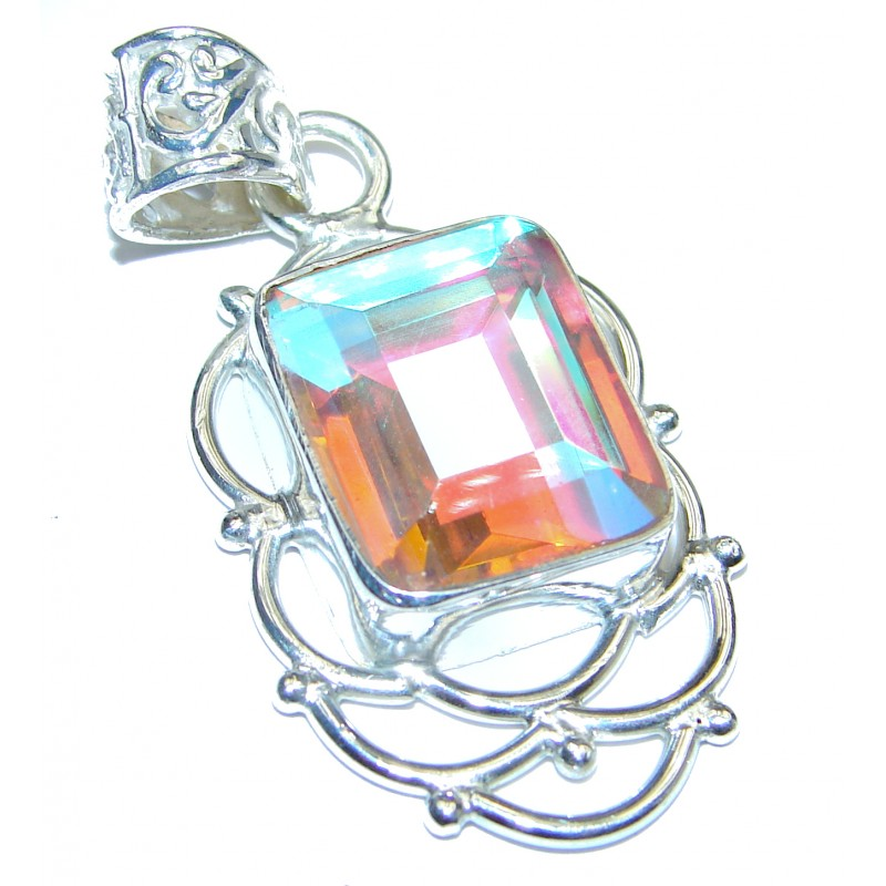 Rainbow Quartz .925 Sterling Silver handcrafted pendant
