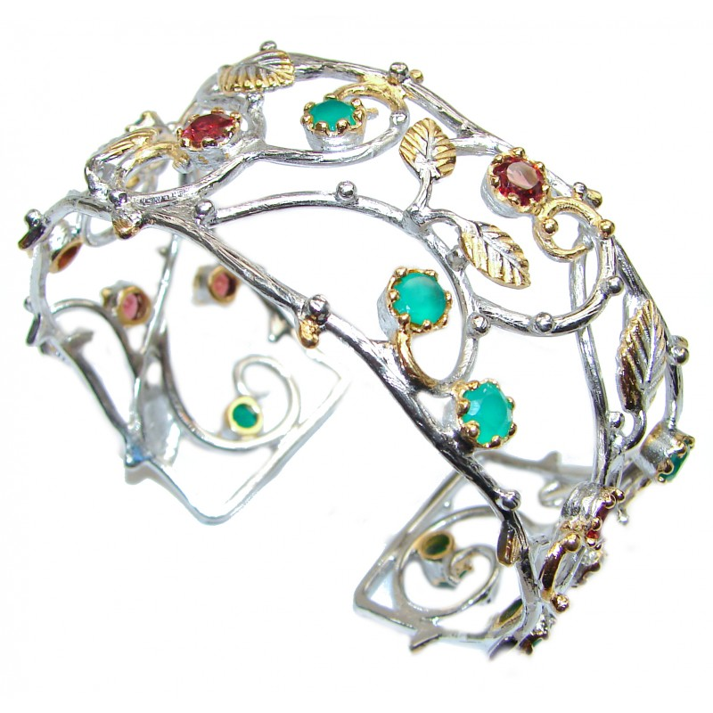 Flower Design Emerald Ruby 18K Gold over .925 Sterling Silver handcrafted Statement Bracelet / Cuff
