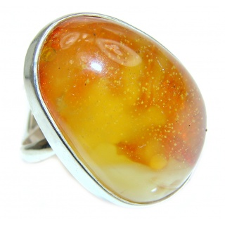 Beautiful Huge Authentic Baltic Amber .925 Sterling Silver handcrafted ring; s 8 adjustable