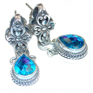 Amazing Aqua Topaz .925 Sterling Silver handmade earrings