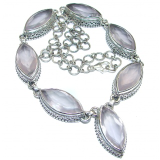 Vintage Design Genuine Rose Quartz .925 Sterling Silver handmade Necklace
