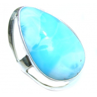 Sublime Design Natural Larimar .925 Sterling Silver handcrafted Ring s. 8 1/2