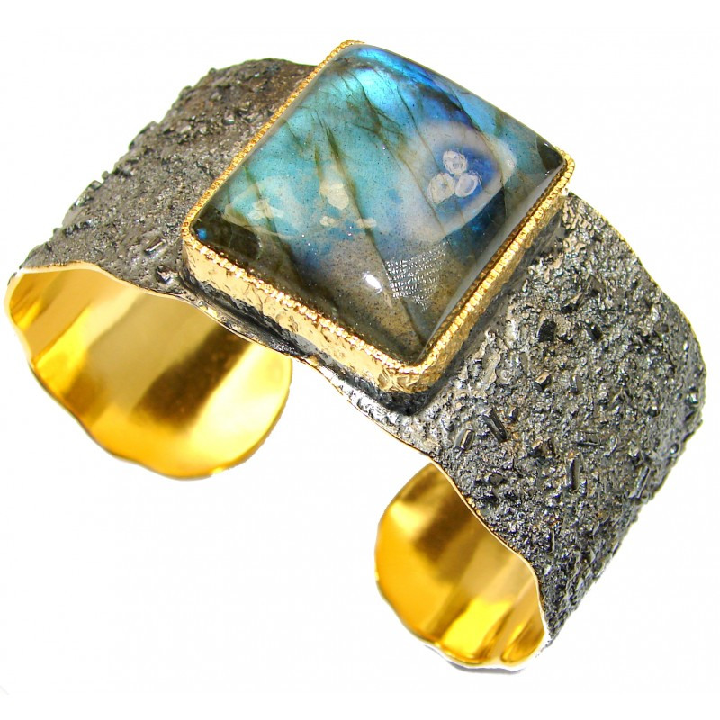 Simplcity Fire Labradorite 18K Gold Rhodium over .925 Sterling Silver Large Bracelet / Cuff