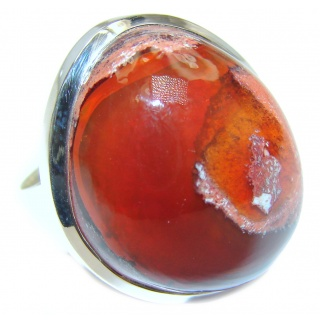 Large Genuine Mexican Agate .925 Sterling Silver handmade Ring size 8