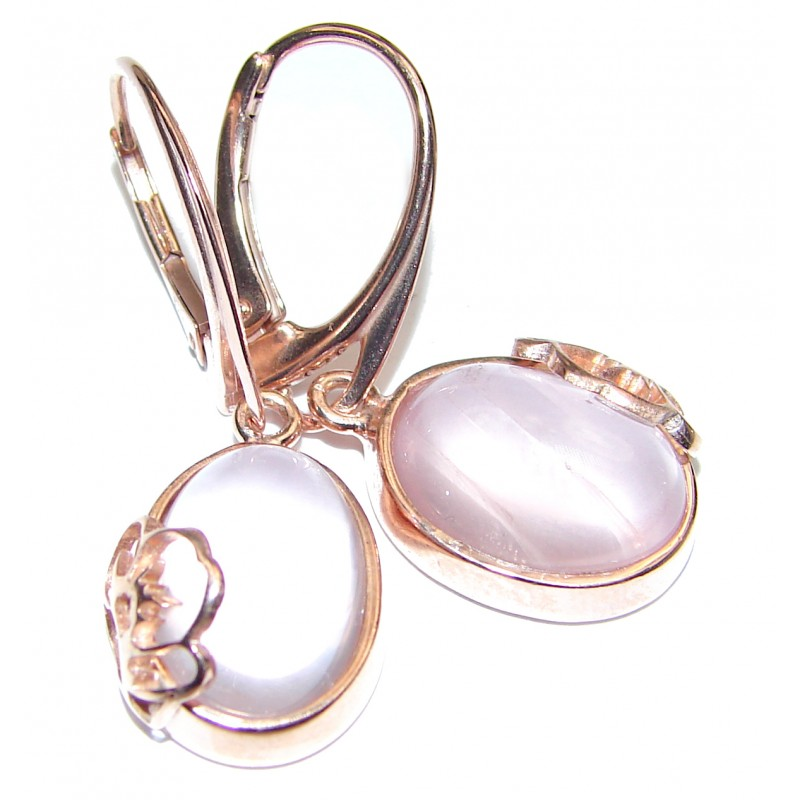 Exclusive genuine Rose Quartz 18K Gold over .925 Sterling Silver handcrafted earrings