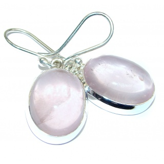 Exclusive genuine Rose Quartz .925 Sterling Silver handcrafted earrings