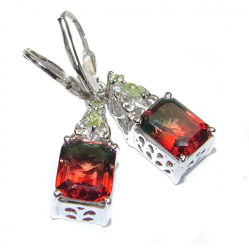 Tourmaline .925 Sterling Silver entirely handmade earrings