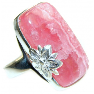 Best Quality Argentinian Rhodochrosite .925 Sterling Silver handmade ring size 7 adjustable