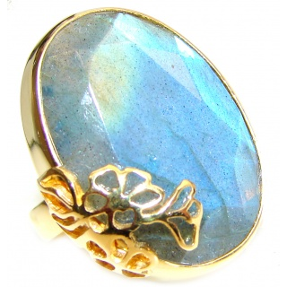 Large faceted Fire Labradorite 18K Gold over .925 Sterling Silver handmade ring size 8 adjustable