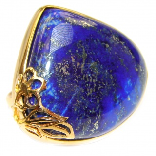 Large Natural Lapis Lazuli 18K Gold over .925 Sterling Silver handcrafted ring size 7 adjustable