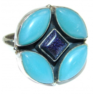 Agate Blue Sitara .925 Sterling Silver handcrafted Ring s. 8 3/4
