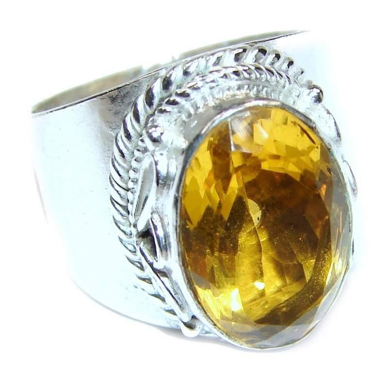 Vintage Style Natural Citrine 18K Gold over .925 Sterling Silver handcrafted Ring s. 7 1/4