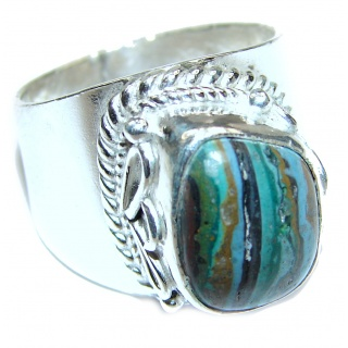 Blue Rainbow Calsilica .925 Sterling Silver handcrafted ring size 7 1/4