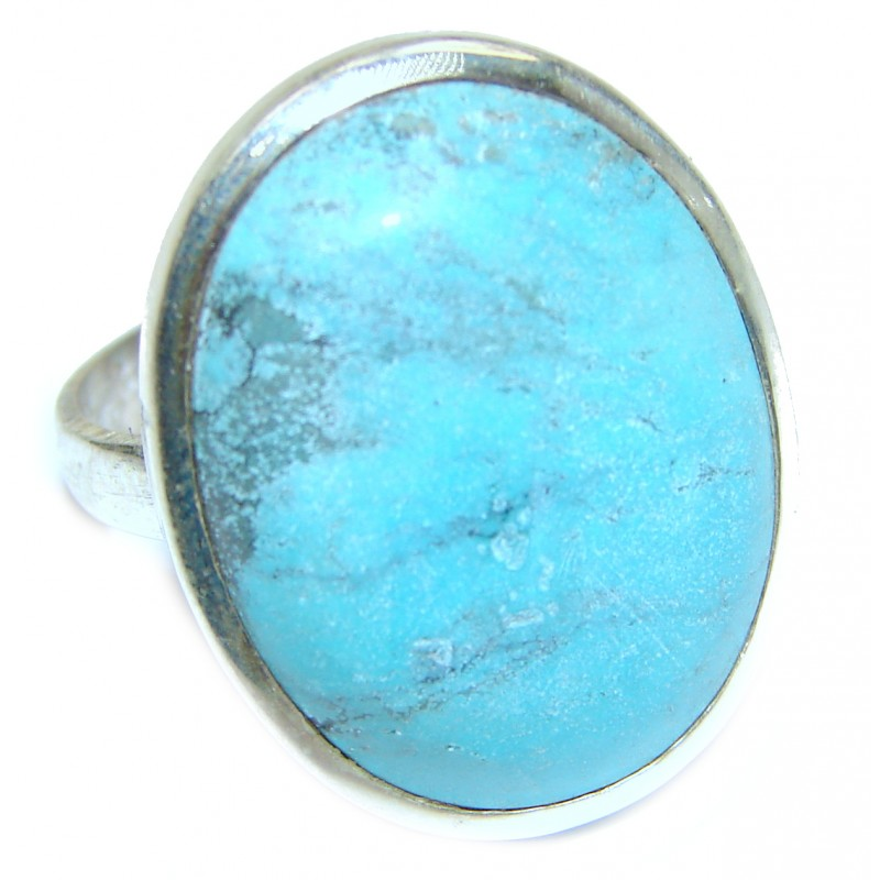 Blue Turquoise .925 Sterling Silver ring; s. 11