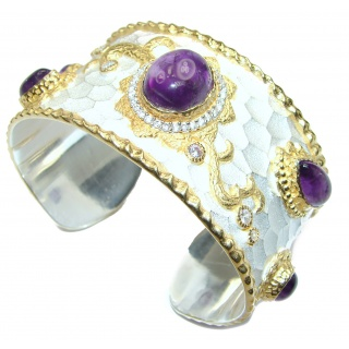 Enchanted Beauty Amethyst 24K Gold over .925 Sterling Silver antique patina Bracelet / Cuff