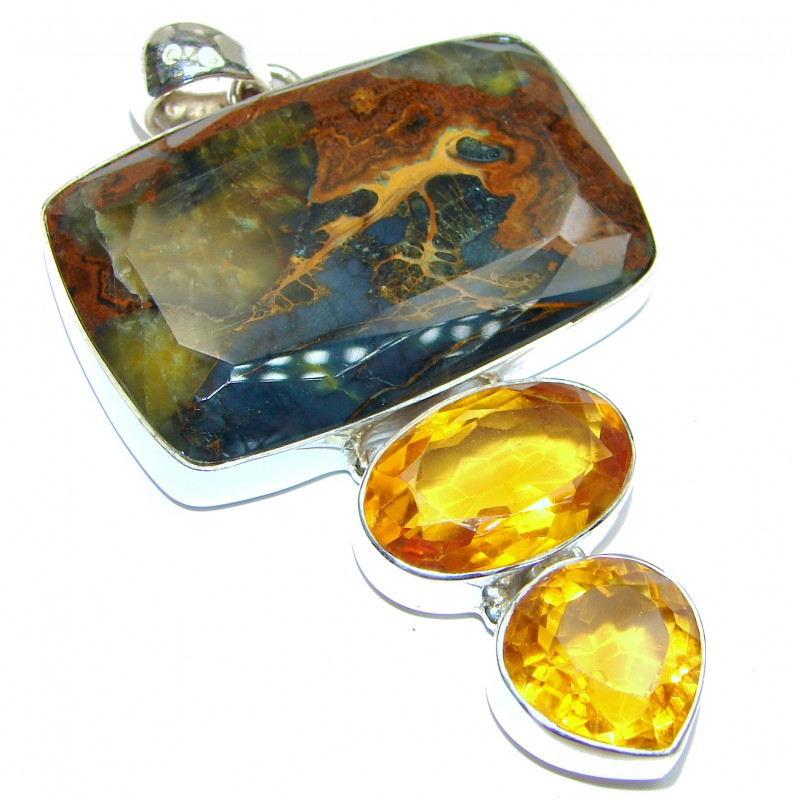 Large Genuine Golden Pietersite .925 Sterling Silver handmade pendant