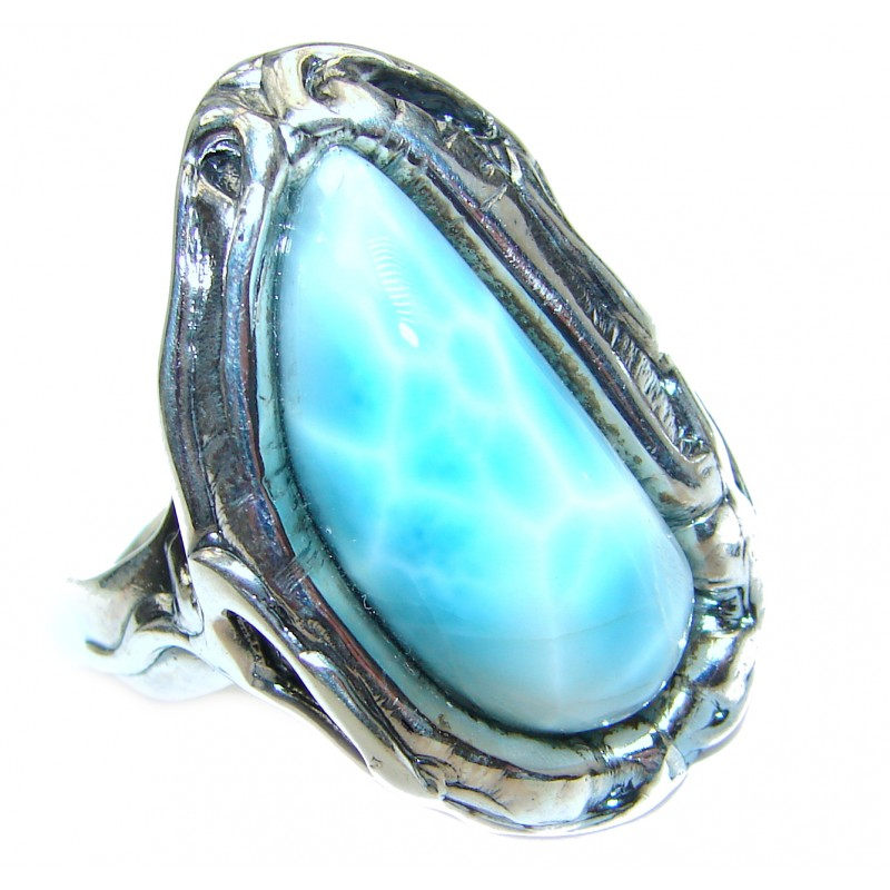 Sublime Design Natural Larimar .925 Sterling Silver handcrafted Ring s. 7 adjustable