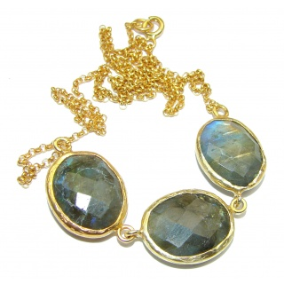 Natural Beauty Labradorite 18K Gold over Sterling Silver handcrafted necklace