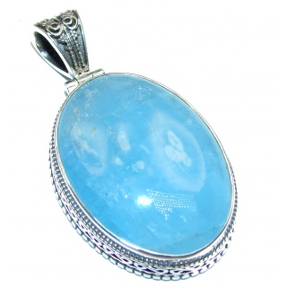 Large Genuine 79.5 ct Aquamarine .925 Sterling Silver handmade Pendant