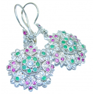 Victorian Style Emerald Ruby White Topaz .925 Sterling Silver earrings