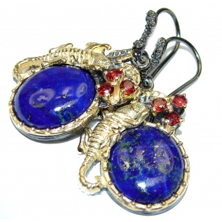 Outstanding Sublime Blue Lapis Lazuli Garnet 18K Gold over Sterling Silver earrings