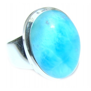 Sublime Design Natural Larimar .925 Sterling Silver handcrafted Ring s. 7