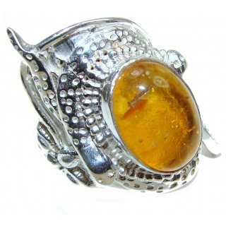 Beautiful Huge Authentic Baltic Amber .925 Sterling Silver handcrafted ring; s. 9 3/4