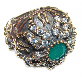 Victorian Style created Emerald & White Topaz Sterling Silver Ring s. 6 1/4