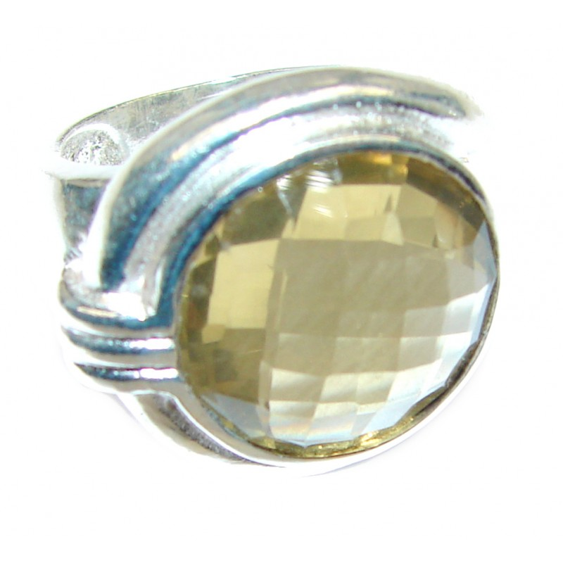Authentic Smoky Topaz .925 Sterling Silver handcrafted ring; s. 5 3/4