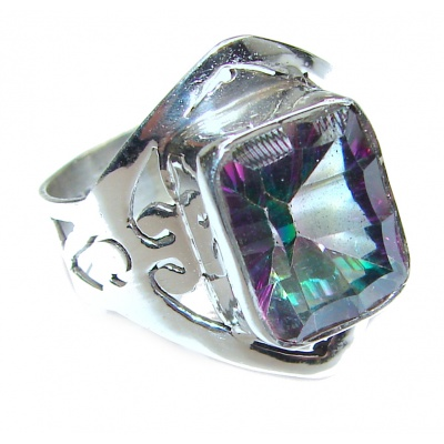 Exotic Magic Topaz .925 Sterling Silver handcrafted Ring s. 8