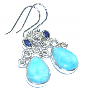 Sublime genuine Blue Larimar .925 Sterling Silver handmade earrings