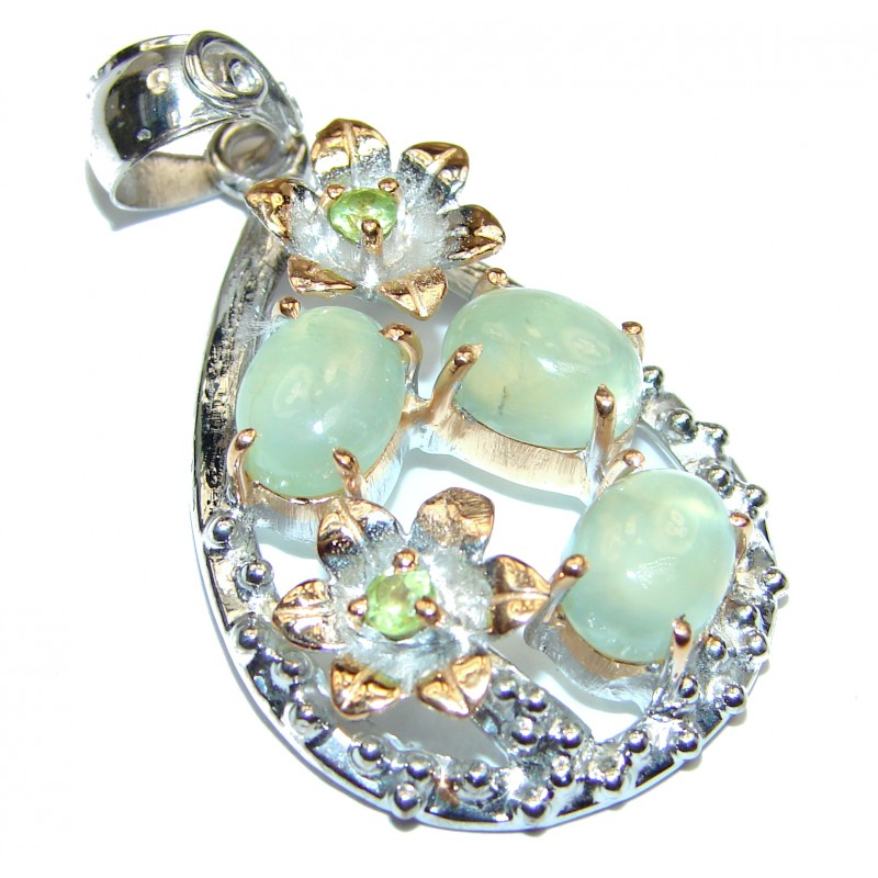 Pure Perfection Natural Moss Prehnite 18K Gold over .925 Sterling Silver handmade Pendant