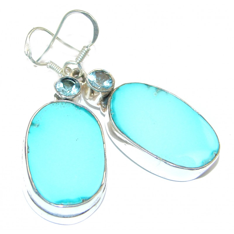 Genuine Beauty Turquoise 18K gold over Sterling Silver handcrafted Earrings