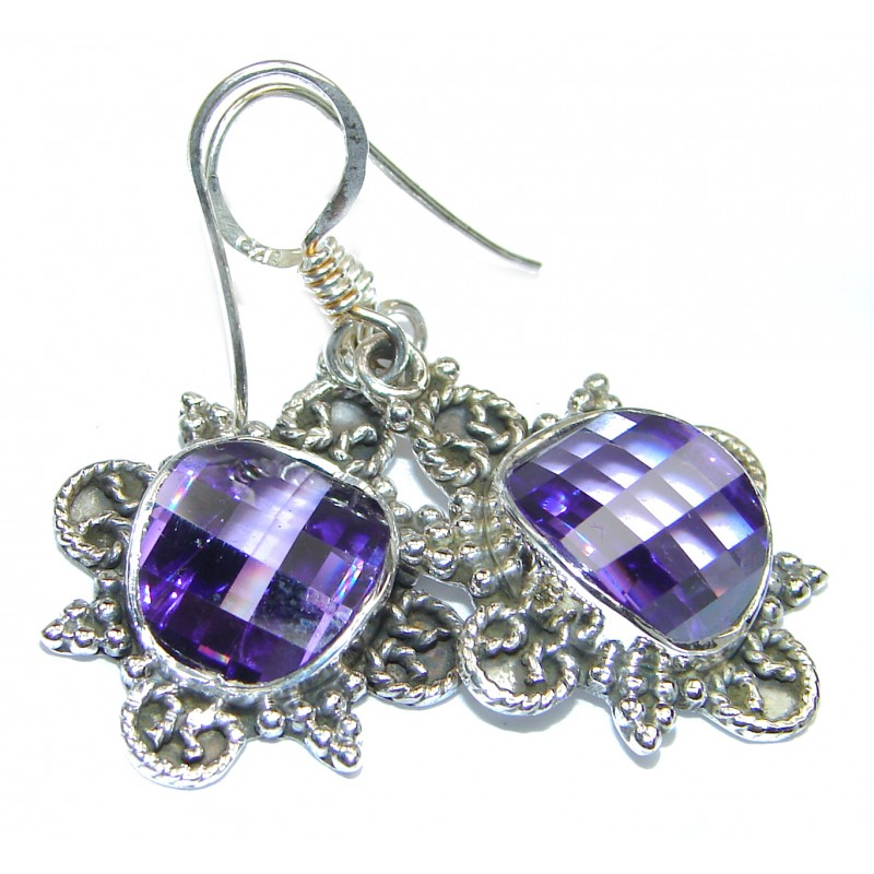 Purple Rainbow Topaz .925 Sterling Silver handmade earrings