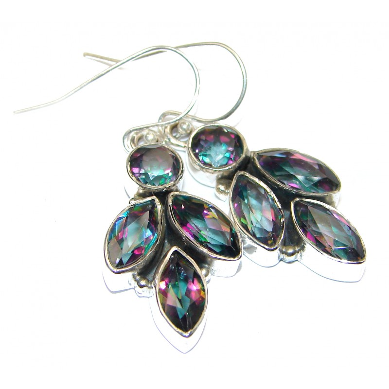 Rainbow Magic Cubic Zirconia .925 Sterling Silver handmade earrings