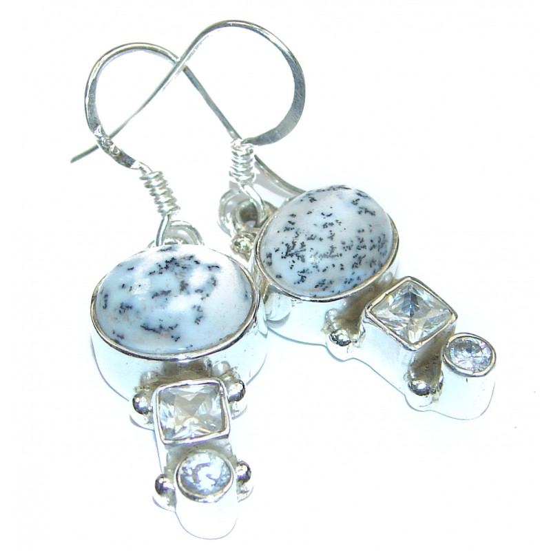 Chunky Moss White Dendritic Agate .925 Sterling Silver handcrafted earrings
