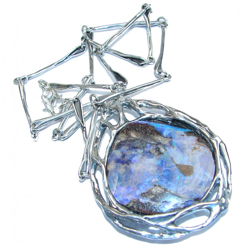 Spectacular Rustic Style Australian Boulder Opal .925 Sterling Silver brilliantly handcrafted necklace